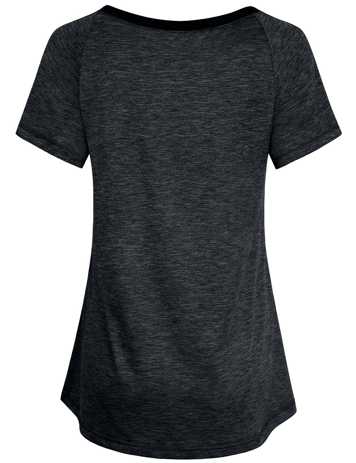 Miusey Gym T Shirt for Women, Ladies V Neck Athletic Short Sleeve Daily Wear Unisex Tshirt Blouse Knitted Spring Yoga Light Fitted Dressy Utility Trendy Black L by Miusey (Image #2)