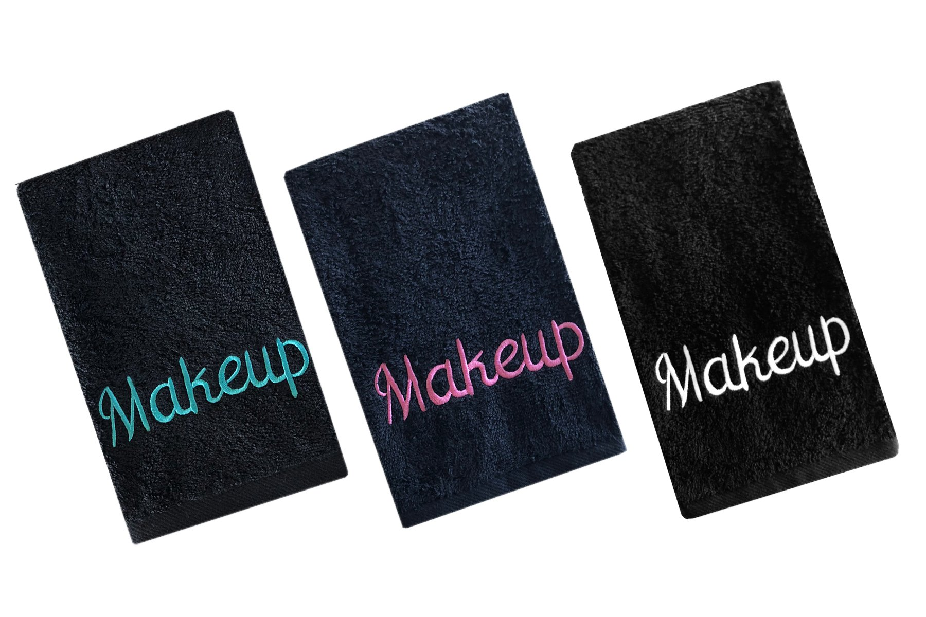 Luxury 100% Cotton Makeup Removal and Cleansing Embroidered Finger-Tip Towels by Home Bargains Plus , New Colors, Set of 3 Make-Up Finger-Tip Towels, Multi Pack 3 Colors
