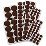 Self-Stick Assorted Sizes Furniture Round Felt Pads Floor Protectors for Hard Surfaces, 152 Pieces - Brown