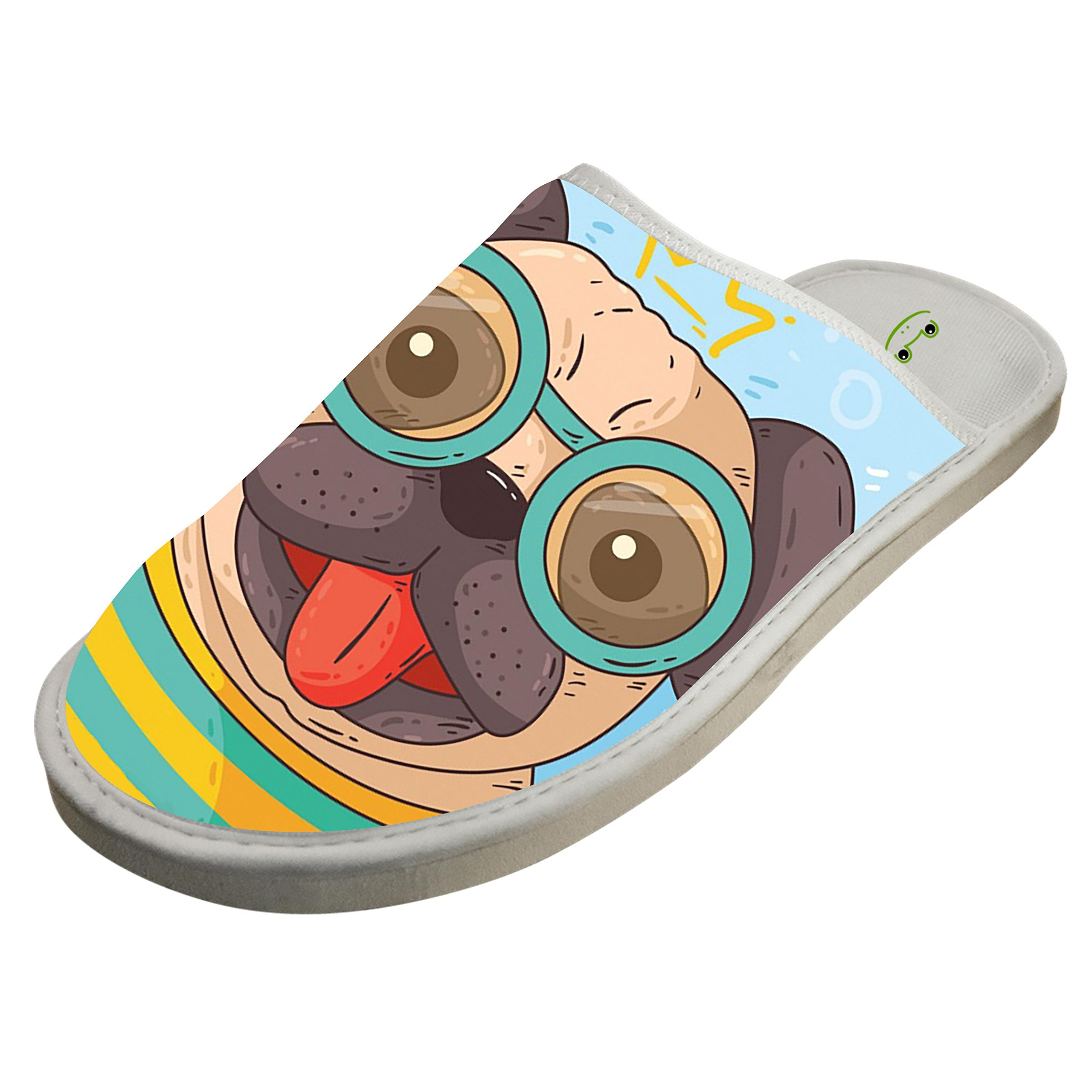 KOUY Pug With Glasses Closed Toe Cotton Slippers Warm Soft Indoor Shoes Non-watertight 9 D(M) US