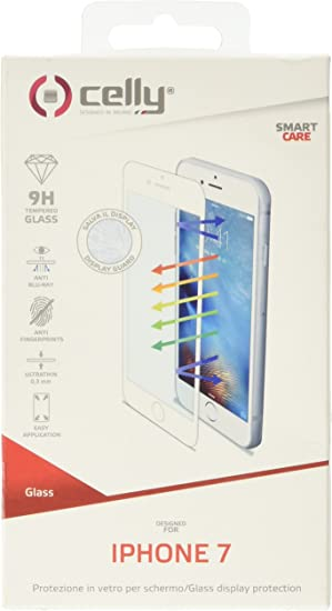 Celly GLASS800WH - Protector de Pantalla (Protector de Pantalla, Teléfono móvil/Smartphone, Apple, iPhone 7, Resistente a rayones, Transparente, Blanco): Amazon.es: Electrónica