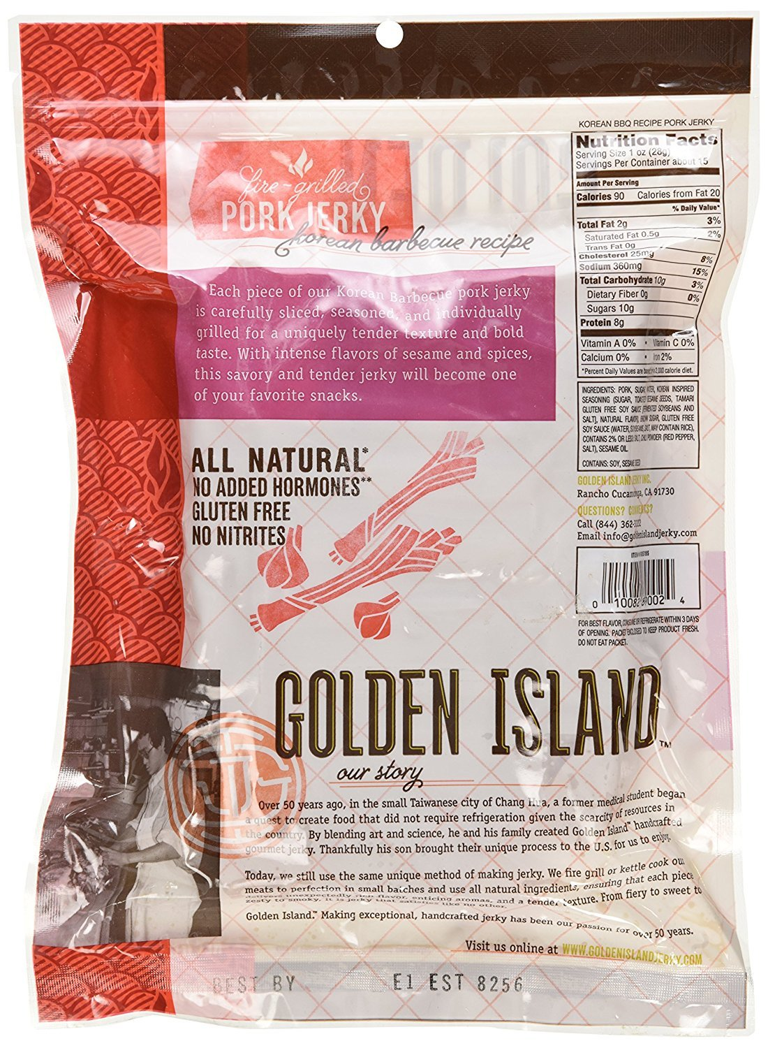 Golden Island Natural Style Pork Jerky, Korean Barbecue Recipe, 14.5oz (Pack of 3) by Golden Island (Image #3)