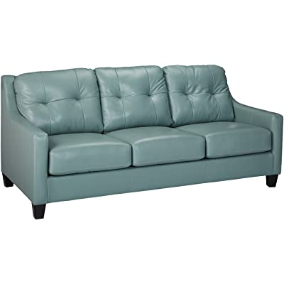 Ashley Furniture Signature Design   Ou0027Kean Contemporary Leather Upholstered Sofa  Sleeper   Queen Size