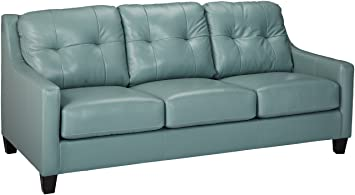 Ashley Furniture Signature Design - OKean Contemporary Leather Upholstered Sofa Sleeper - Queen Size - Sky