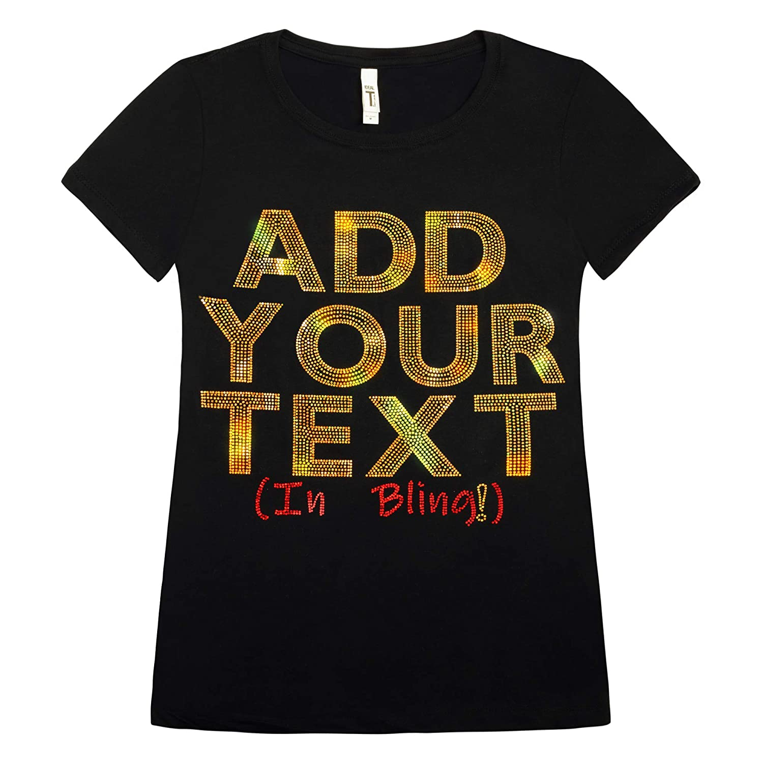 Amazon Custom T Shirts Add Your Text In Cool Sparkling Spangles