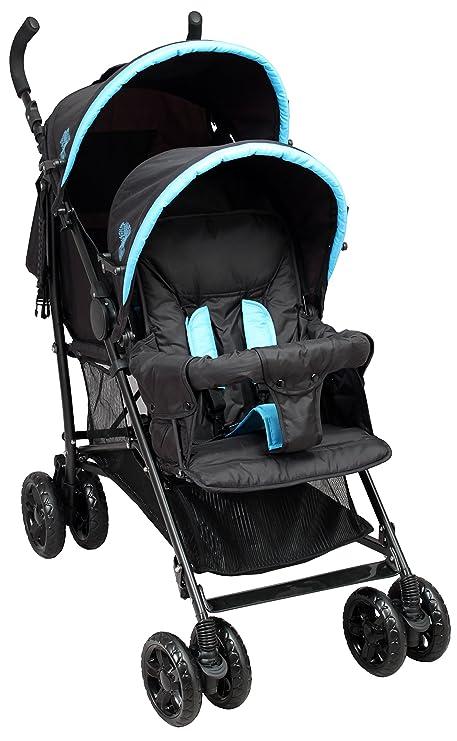 Bambisol - Cochecito doble para bebé, color negro/turquesa ...