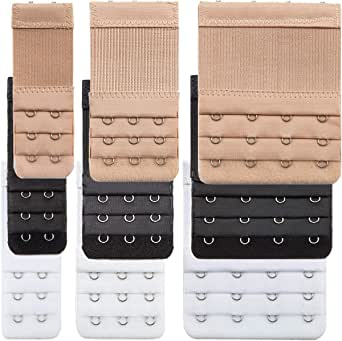 9 Pieces Bra Extender Bra Strap Extension Women's Elastic Extenders, 3 Colors (3 Rows x 2 Hooks, 3 Rows x 3 Hooks, 3 Rows x 4 Hooks)