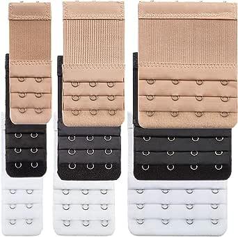 9 Pieces Bra Extender Bra Strap Extension Women's Elastic Extenders, 3 Colors (3 Rows x 2 Hooks, 3 Rows x 3 Hooks, 3 Rows x 4 Hooks)