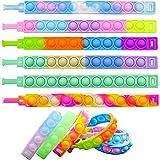 KITTIUS 6 Pieces Pop Fidget Bracelets Toys, Adjustable Push It Bubbles Wristband, Fidget Poppers for Kids and Adults