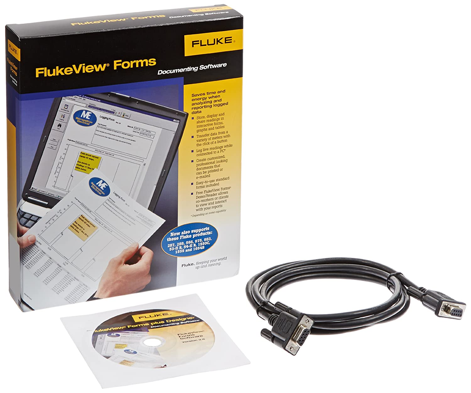 180 Series Fluke FVF-Basic View Forms Basic Software with Cable for 280 Series 789 1653B and 1550B