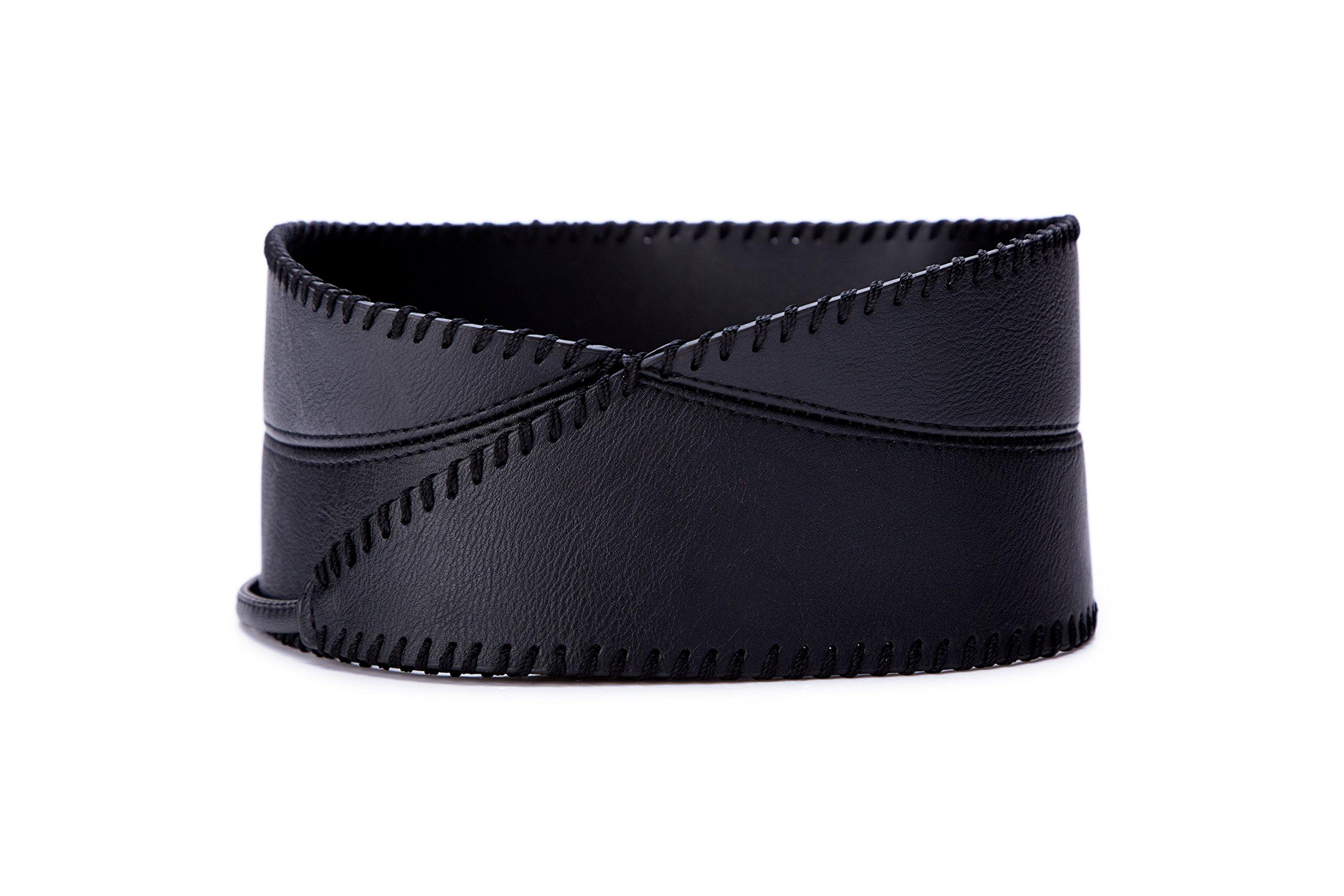 Womens Faux Leather Wrap Around Obi Style Waist Band Belt