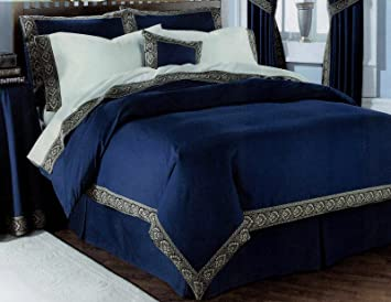 Double Bed Lancelot Navy Blue Duvet Quilt Cover Bedding Set