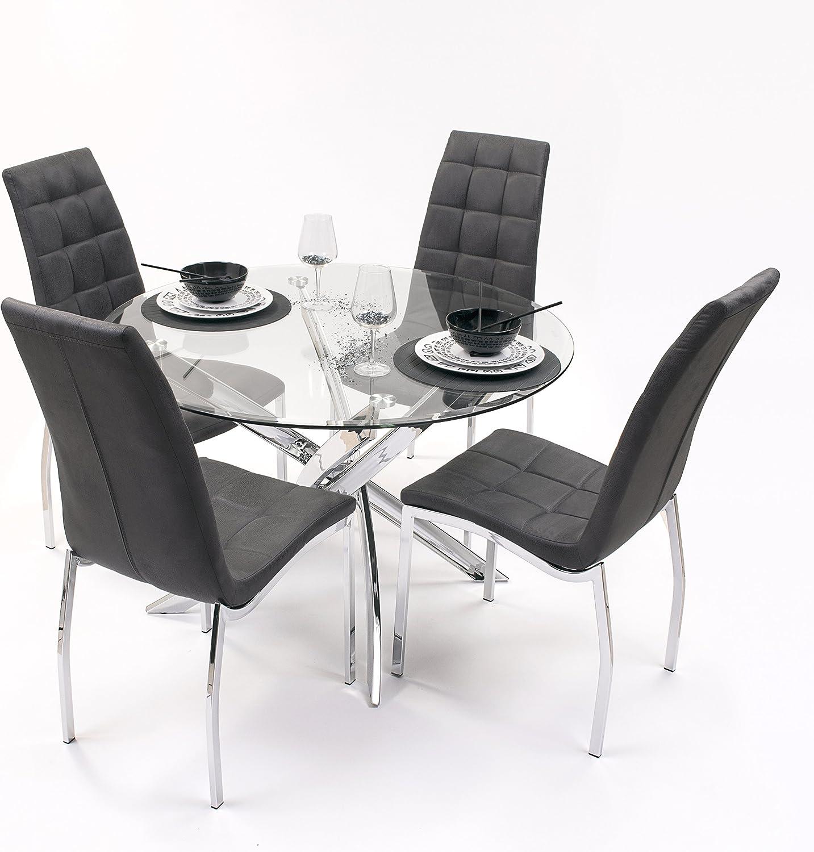 Conjunto de Comedor Dalila con Mesa Redonda 110 cm y 4 sillas ...