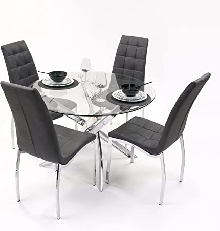Conjunto de Comedor Dalila con Mesa Redonda 110 cm y 4 sillas tapizadas: Amazon.es: Hogar