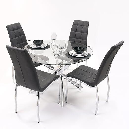 Conjunto de Comedor Dalila con Mesa Redonda 110 cm y 4 sillas tapizadas