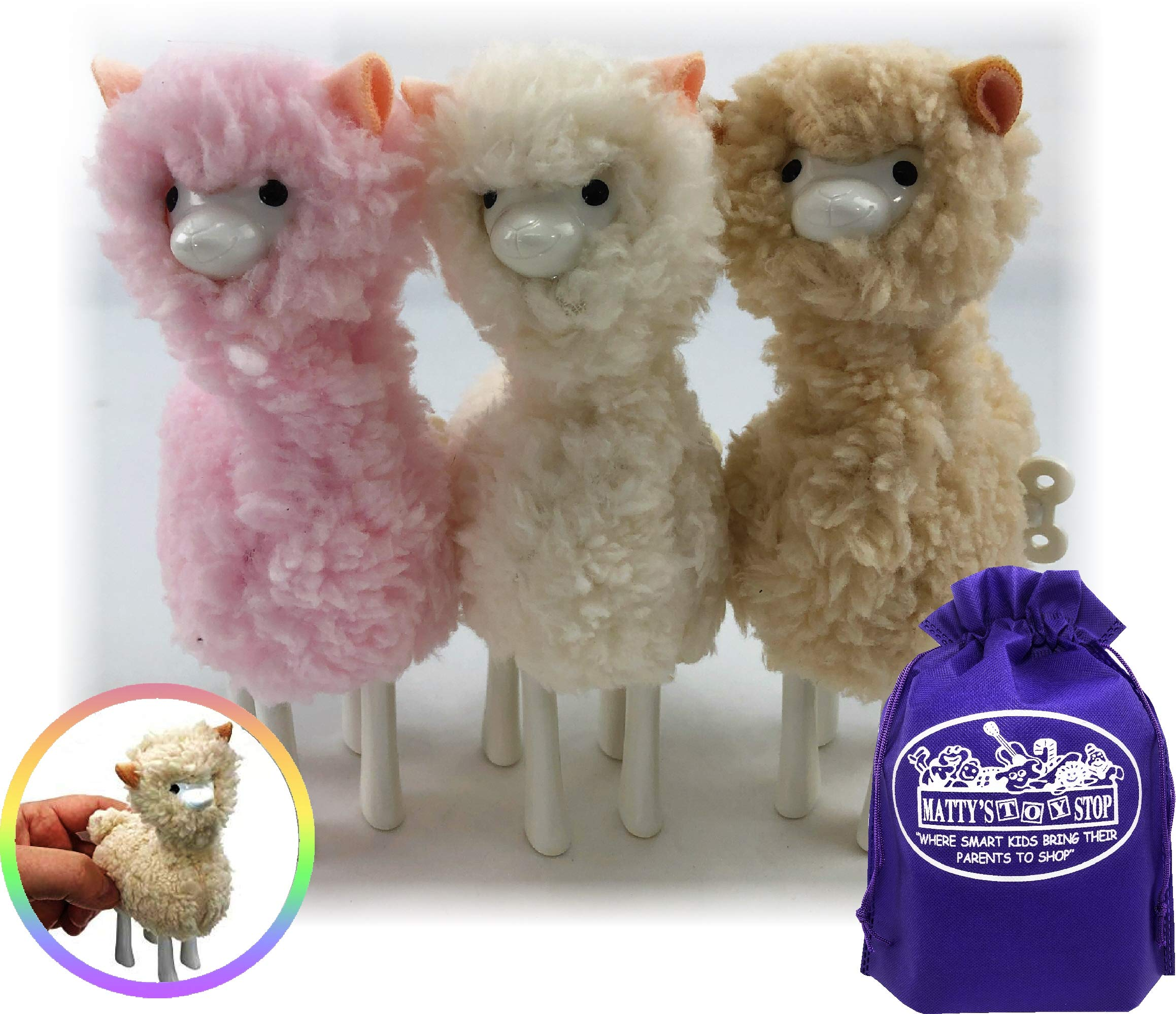 Schylling Llama Wind-Up Walkers White, Pink & Beige Gift Set Bundle with Matty's Toy Stop Storage Bag - 3 Pack by Schylling (Image #3)