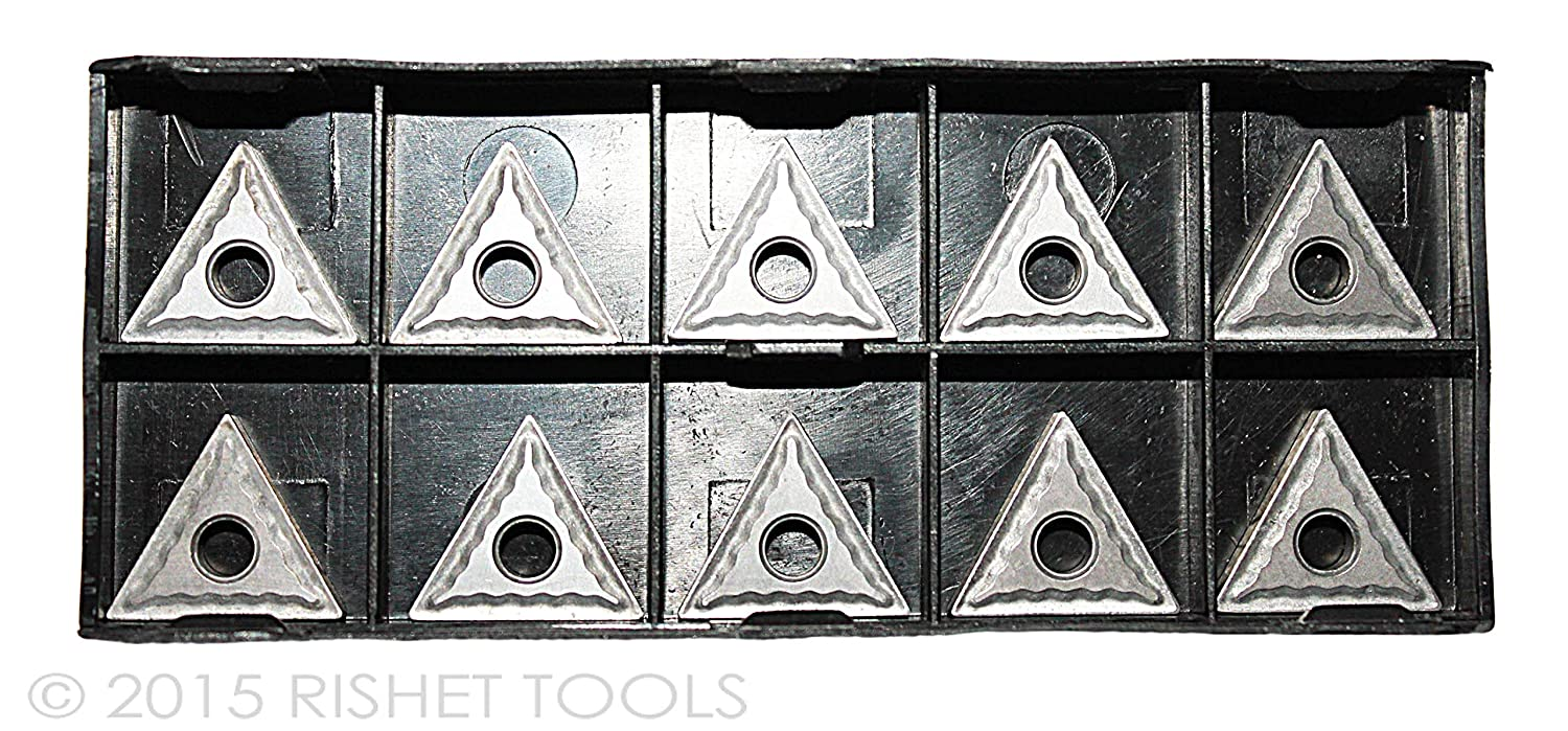 Box of 10 RISHET TOOLS 11120 TNMG 432 C2 Uncoated Bright Finish Solid Carbide Inserts