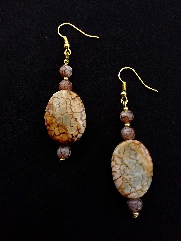 Pendientes grandes - oro, marrón, beige - colgantes transparentes - piedras semipreciosas - ágata de fuego - hecho a mano - idea de regalo para mujer