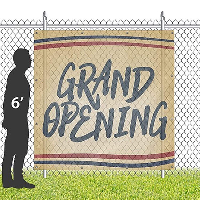 CGSignLab Nostalgia Stripes Wind-Resistant Outdoor Mesh Vinyl Banner Grand Opening 6x6