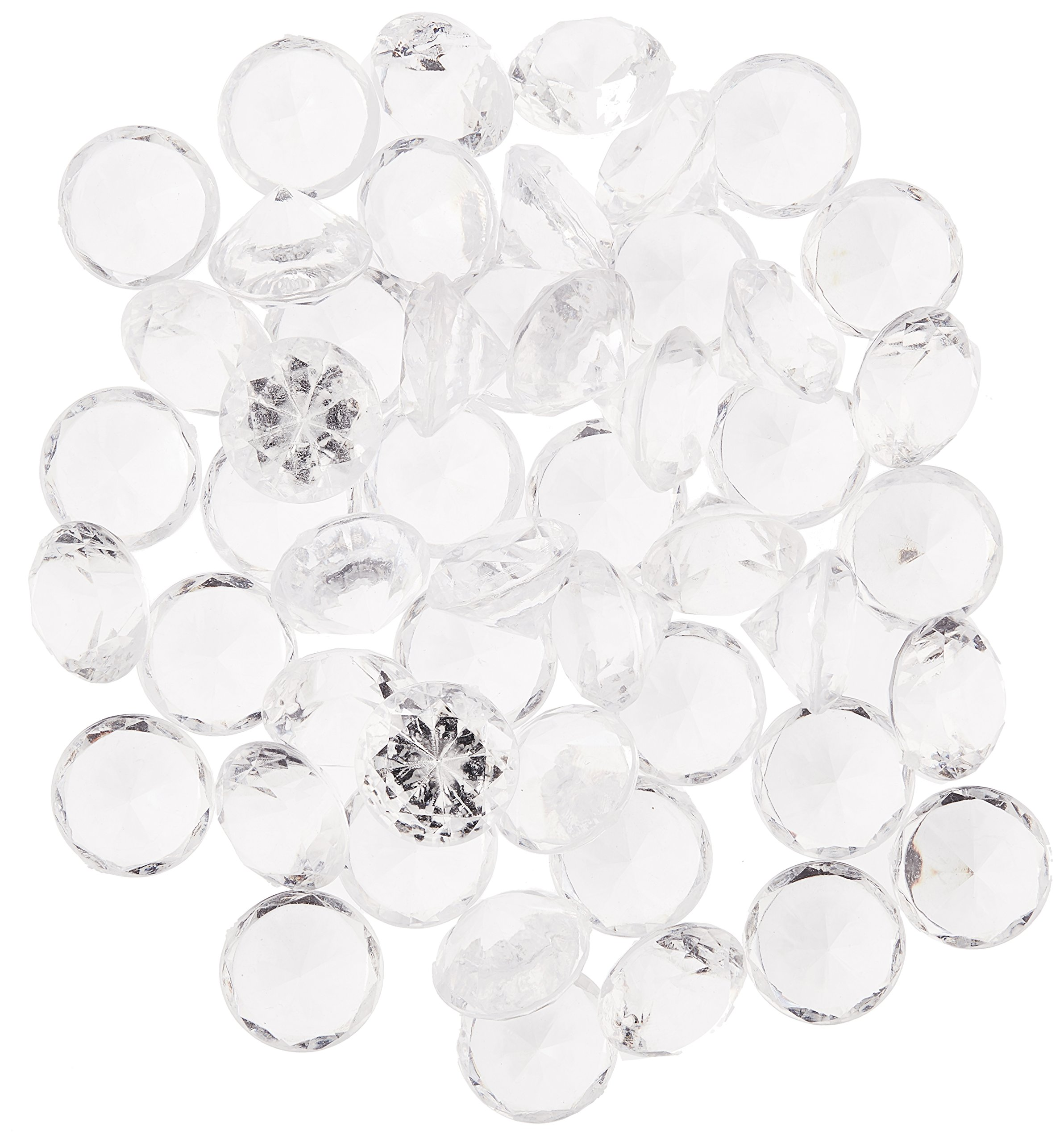 Homeford FPF0750433CL 240 Piece Acrylic Diamond Gemstone Table Scatter, 3/4'', Clear