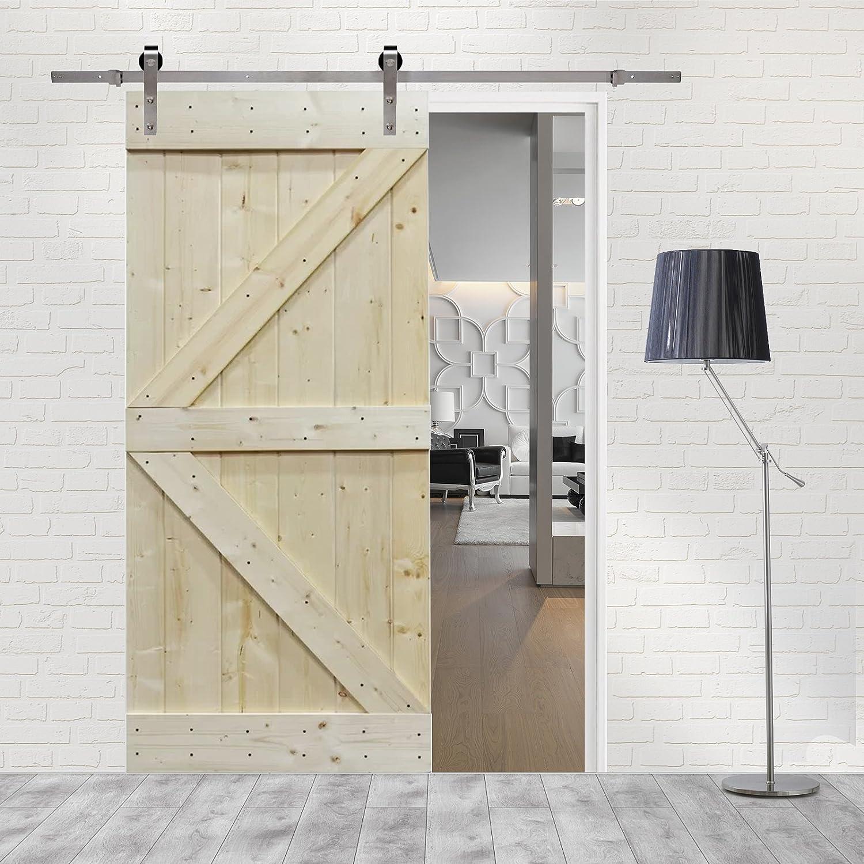 6 ft Puerta Corredera de acero inoxidable conjunto de Hardware con placa de pino madera maciza sin interior puerta de granero: Amazon.es: Bricolaje y herramientas