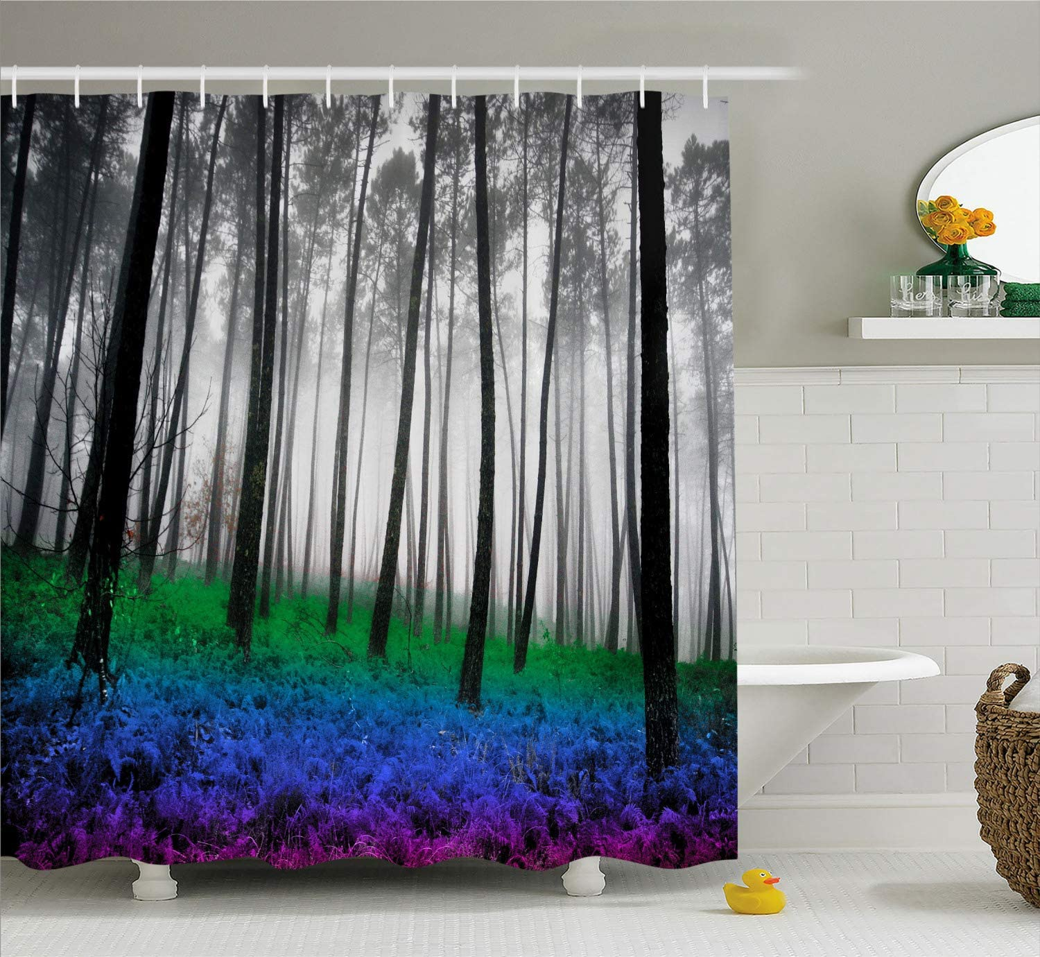 """Ambesonne Forest Shower Curtain, Mystical Fantasy Woodland Under Heavy Fog Tall Trees Bushes Contrast Colors, Cloth Fabric Bathroom Decor Set with Hooks, 70"""" Long, Blue Green"""