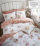 Catherine Lansfield Pom Floral poliéster fácil Cuidado Juego de Funda nórdica, Coral, Single