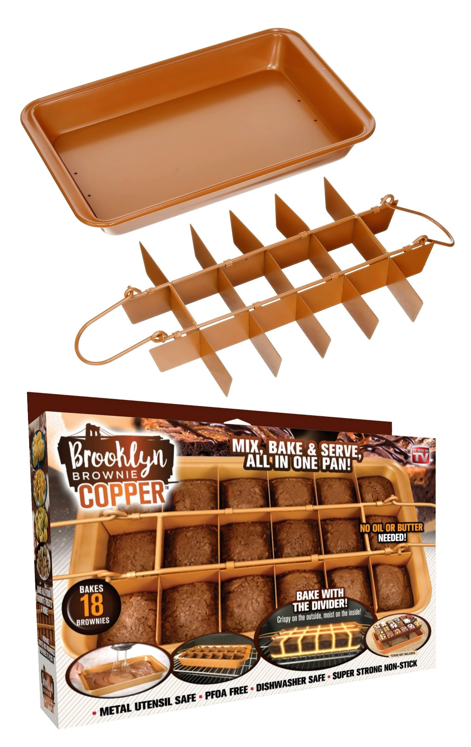 Brooklyn Brownie Copper by Gotham Steel Nonstick Baking Pan with Built-In Slicer, Ensures Perfect Crispy Edges, Metal Utensil and Dishwasher Safe by GOTHAM STEEL