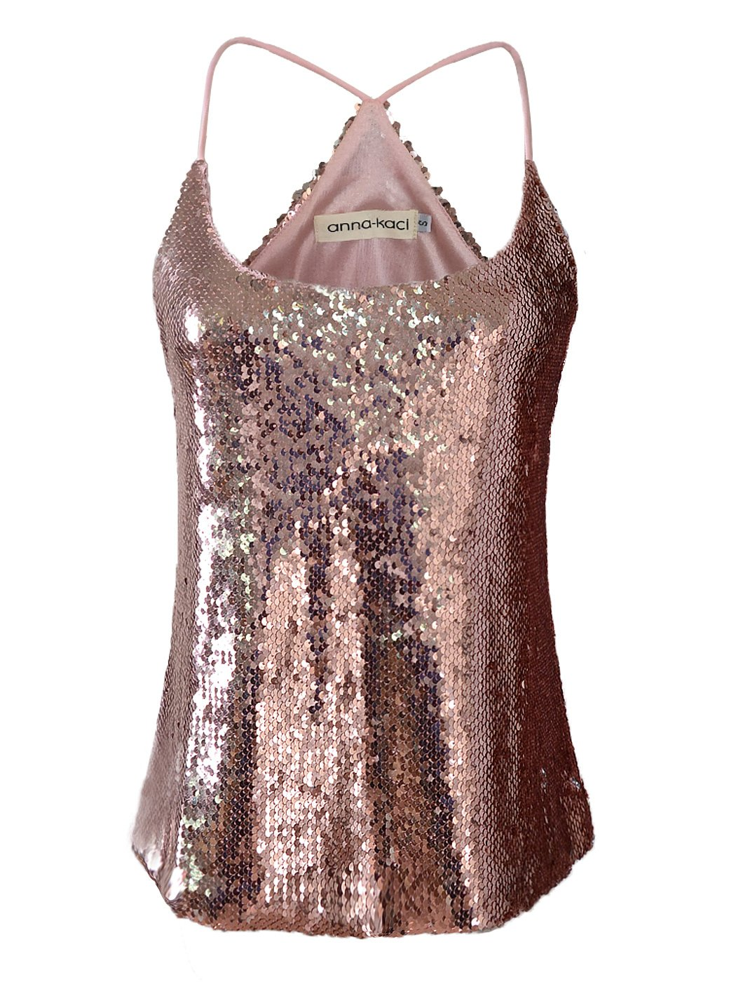Anna-Kaci Womens All Over Shiny Sequin Spaghetti Strap Vest Tank Top, Rose Gold, X-Large