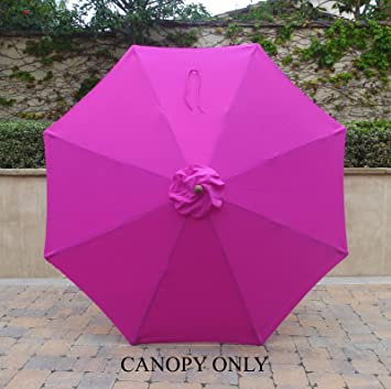 9ft Umbrella Replacement Canopy 8 Ribs in Fuchsia (HOT PINK Canopy Only) : hot pink canopy - memphite.com
