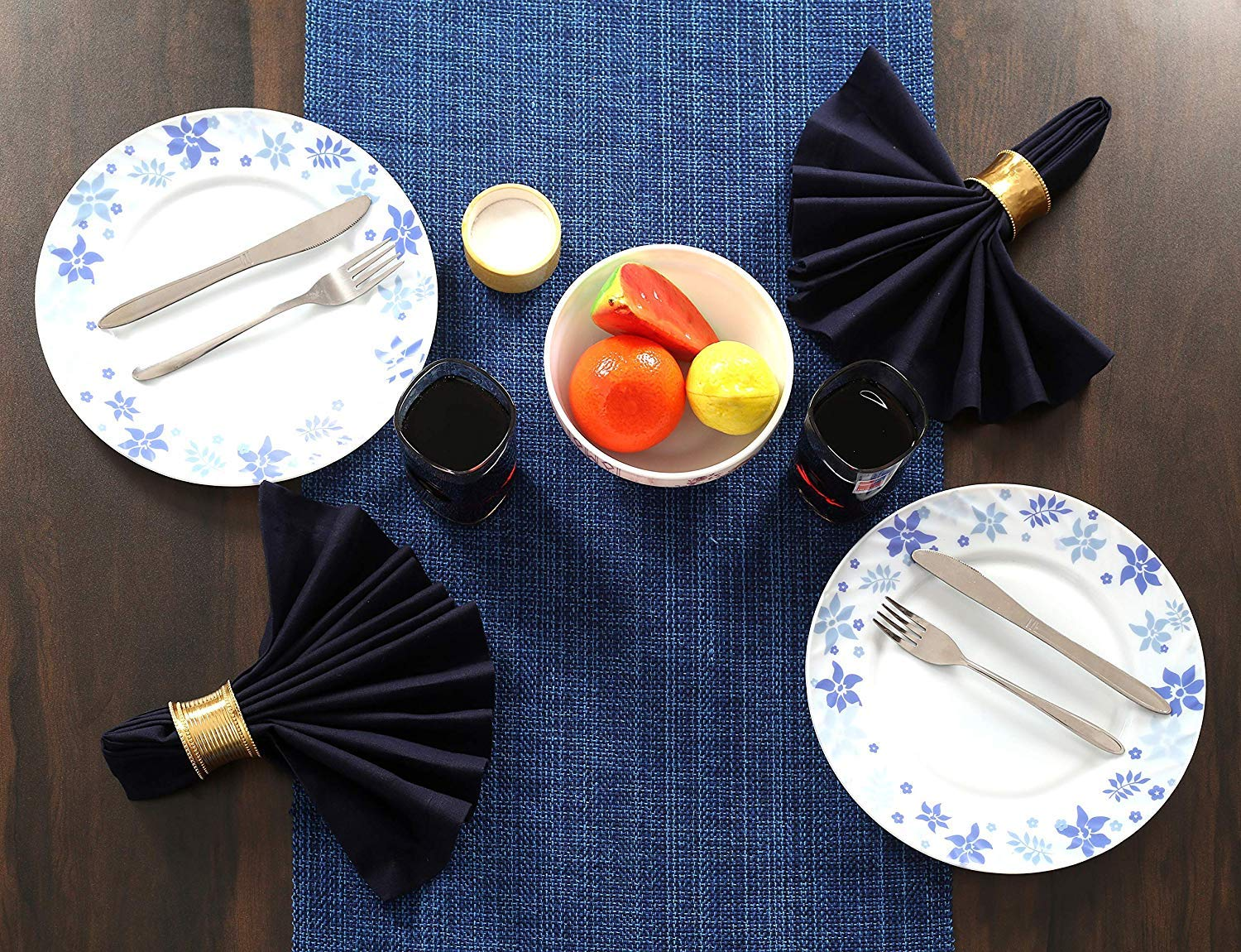 16x72 Wedding Table Runner Fringes Rustic Bridal Shower Decor Table Runner Elegant Dining Table Runner Navy Blue Cotton Clinic Table Runner Farmhouse Vintage 72 Inch