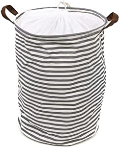 """Deke Home Collapsible Laundry Basket Hamper. Round Striped Canvas Waterproof Large Storage bin Baskets. Storage Washing Clothes and Toys with Handles and drawnstring 13.3""""x 18.5"""""""