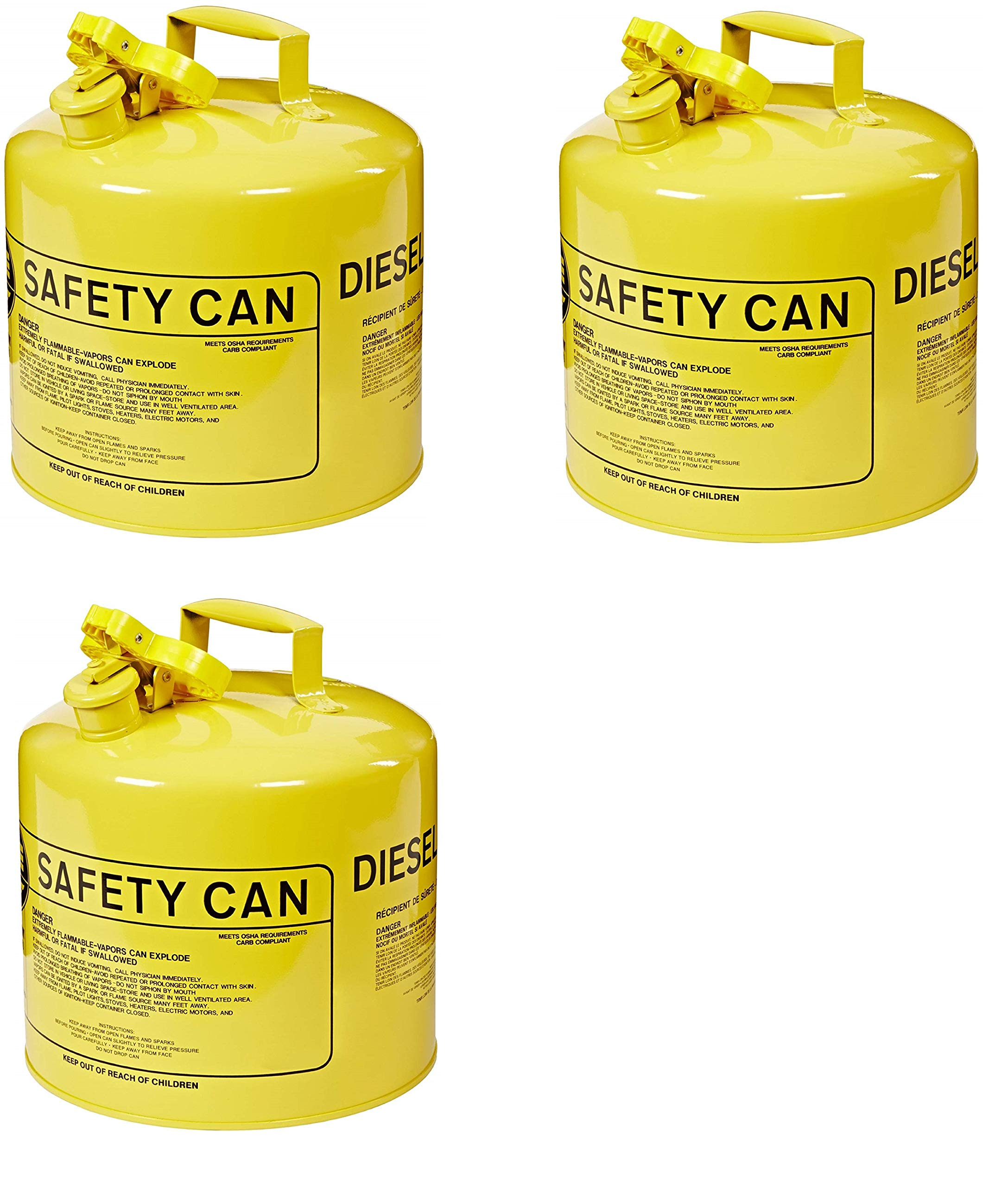 UI-50-SY Type I Metal Safety Can, Diesel, 12-1/2 in Width x 13-1/2 in Depth, 5 Gallon Capacity, Yellow