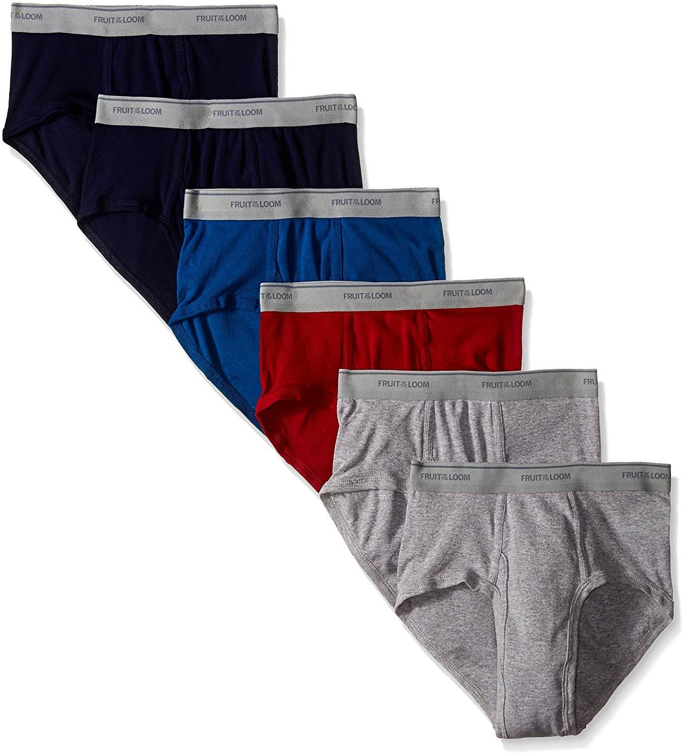 Fruit Of The Loom Men's Assorted Fashion Brief(Pack Of 6) (Solids, Medium (32''-34'' Waist))