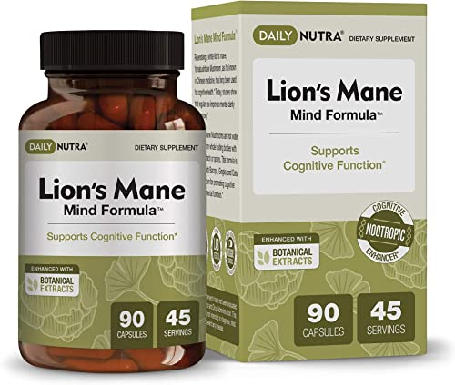 Lion s Mane Mind Formula by DailyNutra – Nootropic Supplement for Cognitive Health Organic Mushroom Extract with Bacopa, Gingko, Gota Kola, and Huperzine-A 90 Capsules