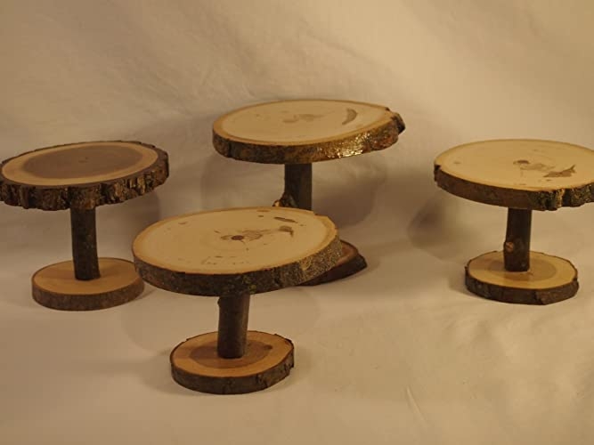Amazoncom Set Of 4 Small Wood Slice Display Stands Rustic Decor