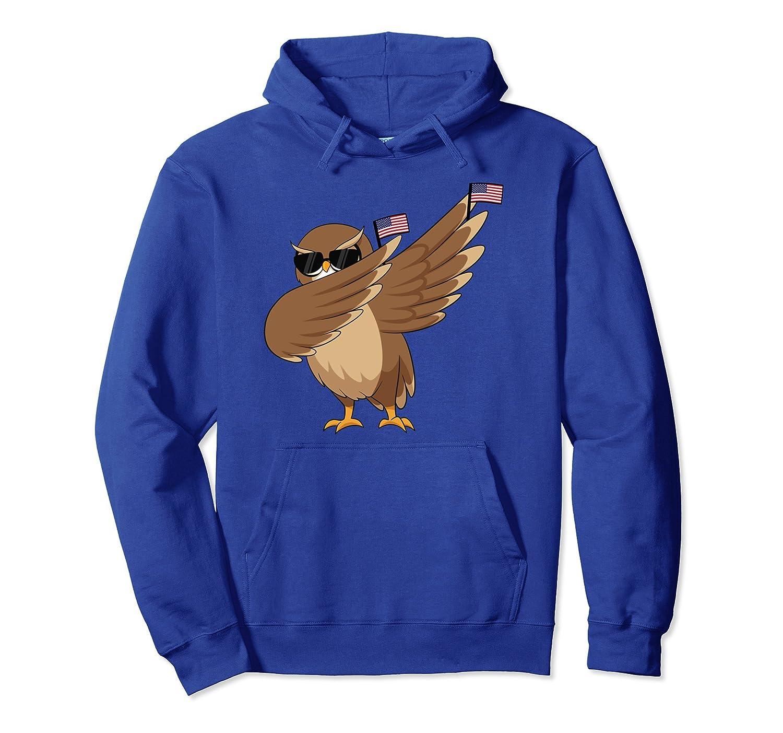American Pride Owl USA Dabbing Bird Funny Hoodie-mt