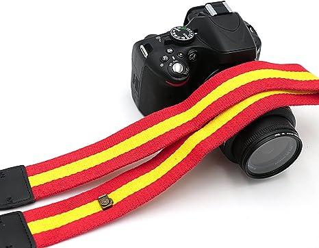 Esp correa para cámara, bandera España Rojo Amarillo el hombro correa de cuello correa ajustable de