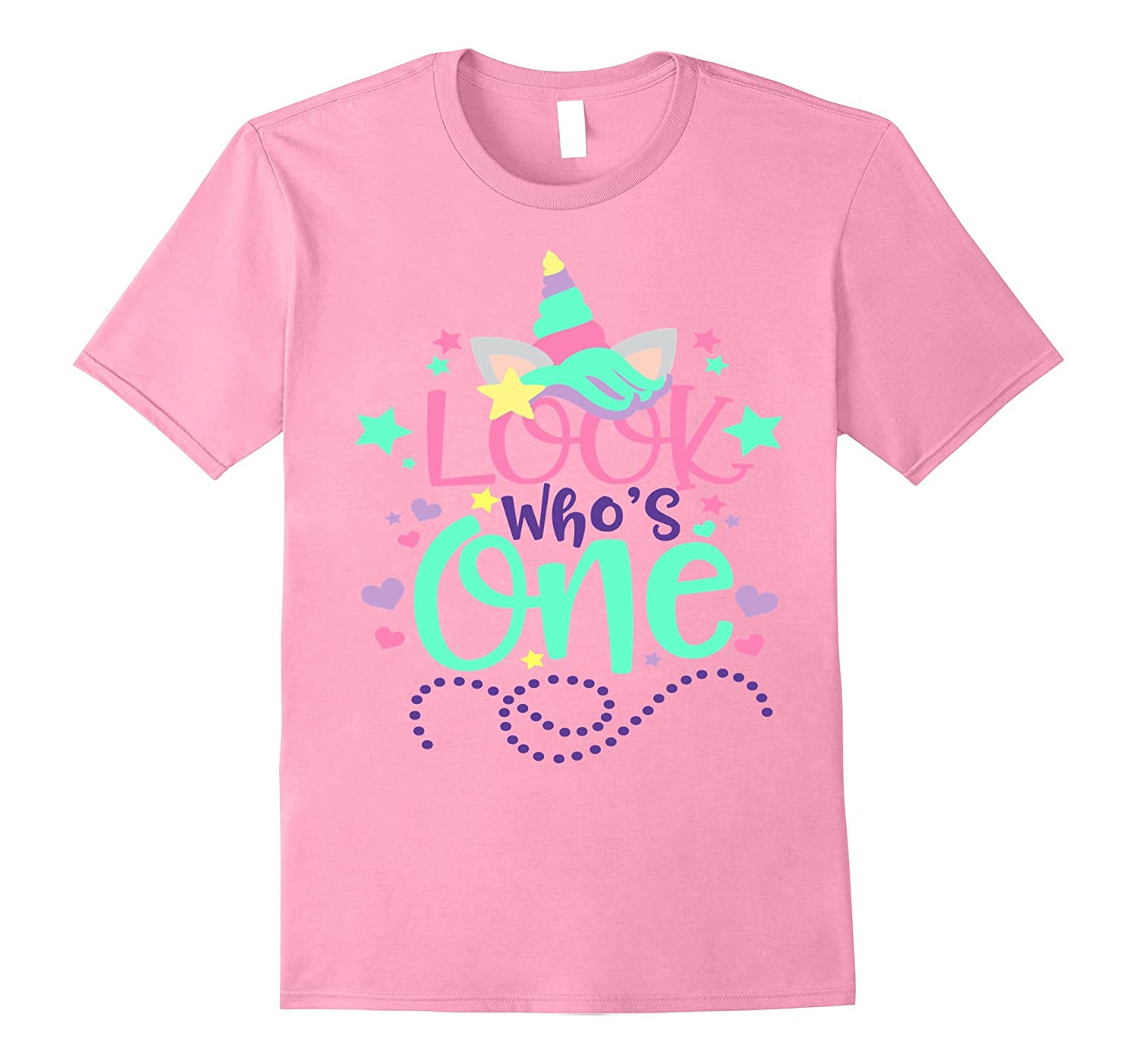 7bbf2bc55 Baby's First Birthday Unicorn Shirt Look Who's One 1 Mom Dad-TH ...