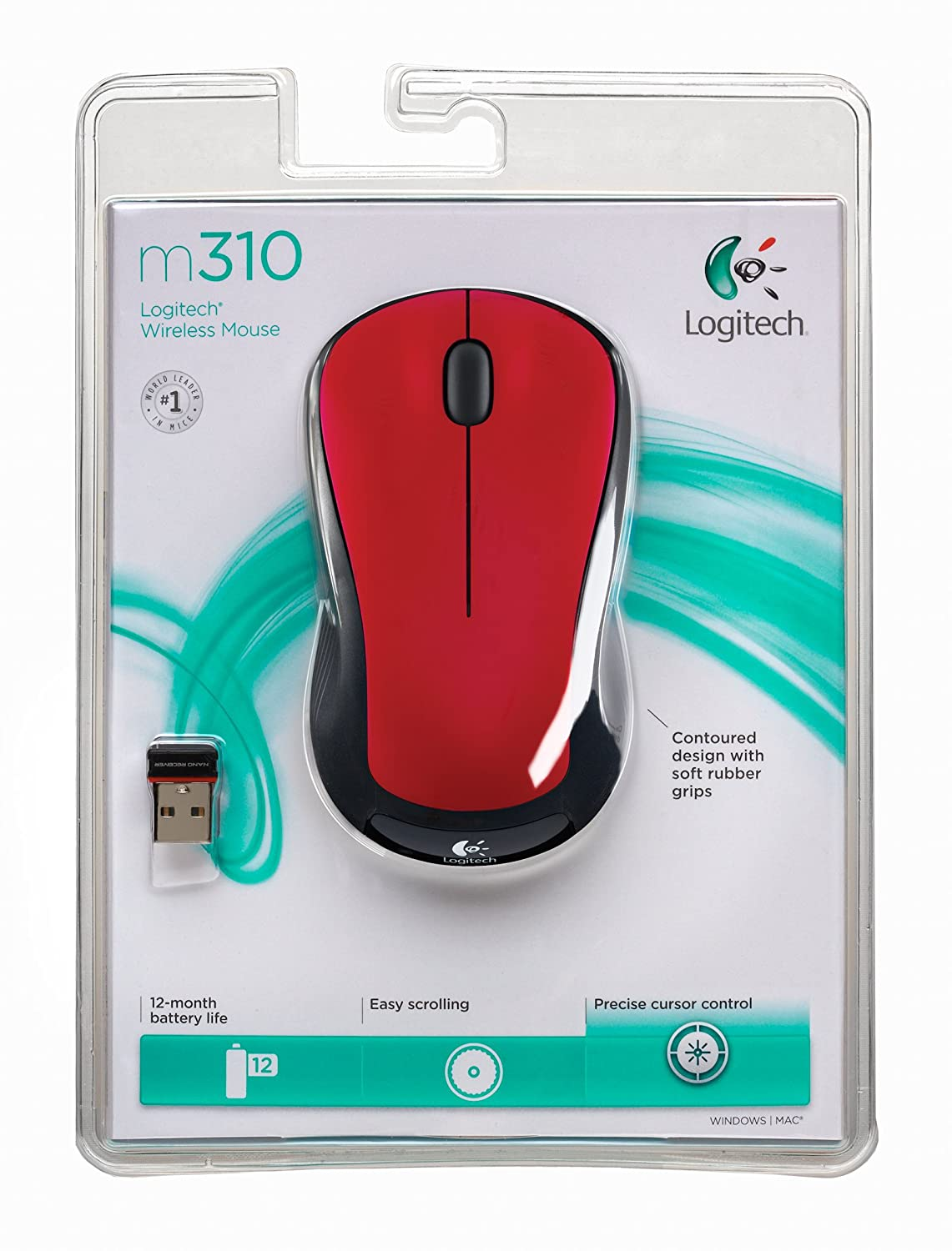 Flame Red Logitech Wireless Mouse M310