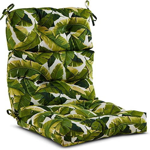 South Pine Porch AM4809-PALM-WHITE Palm Leaves White Outdoor High Back Chair Cushion