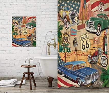 LB Motel Motorcycle Car US Route 66 Shower Curtain Set Garage Bathroom Accessories Decorations Curtains Hooks