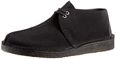 43c055dd9c6b39 CLARKS Desert Trek Mens Black Suede Shoes-UK 6
