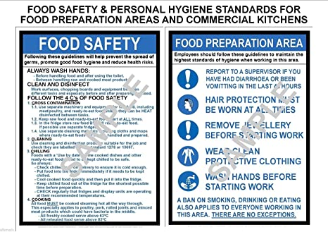 HEALTH & SAFETY 2 x A3 LAMINATED COMMERCIAL KITCHEN SIGNS FOOD ...
