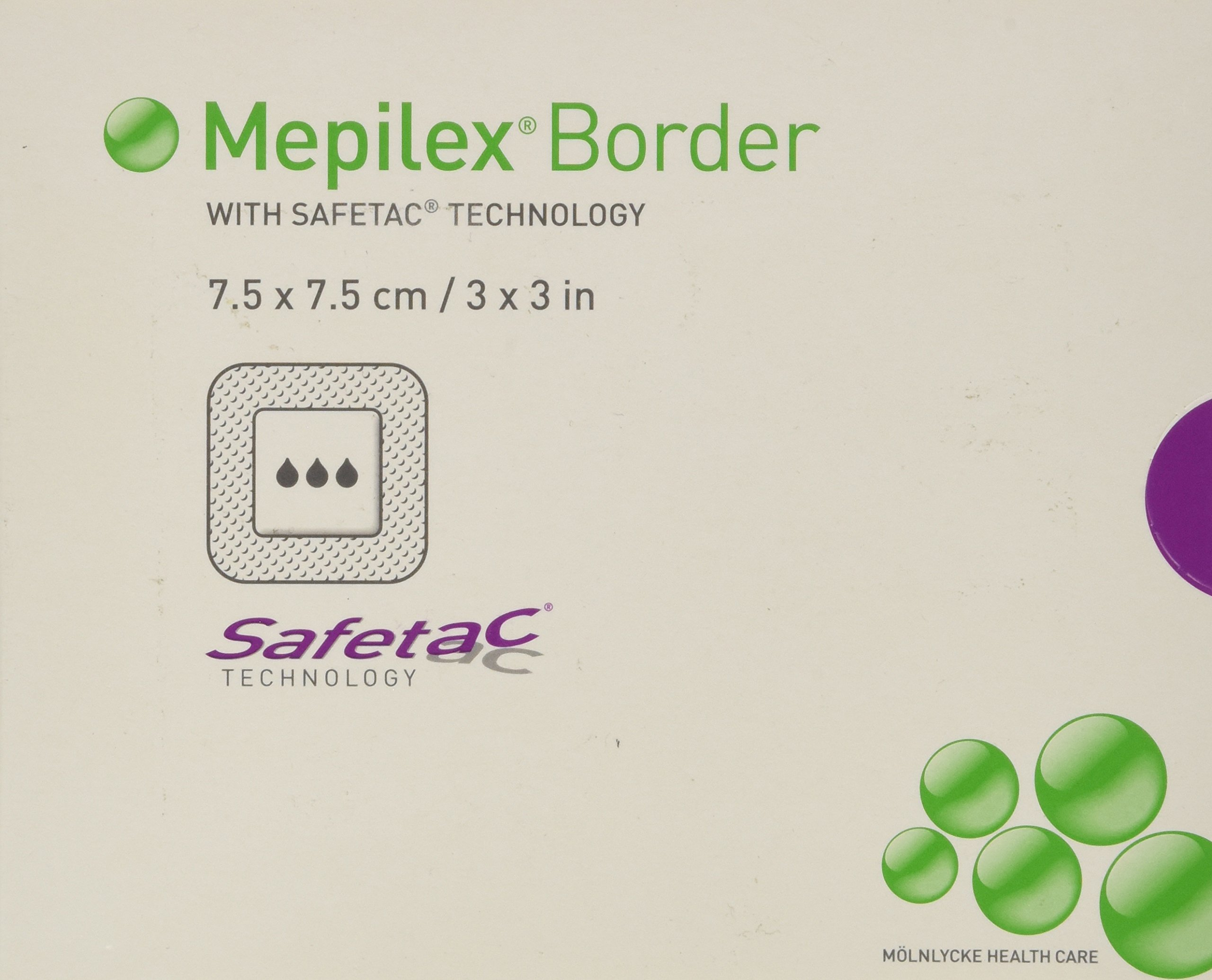 Mepilex Border Self-Adherent Absorbent Foam Dressing - Size 3 x 3'' - Box of 5