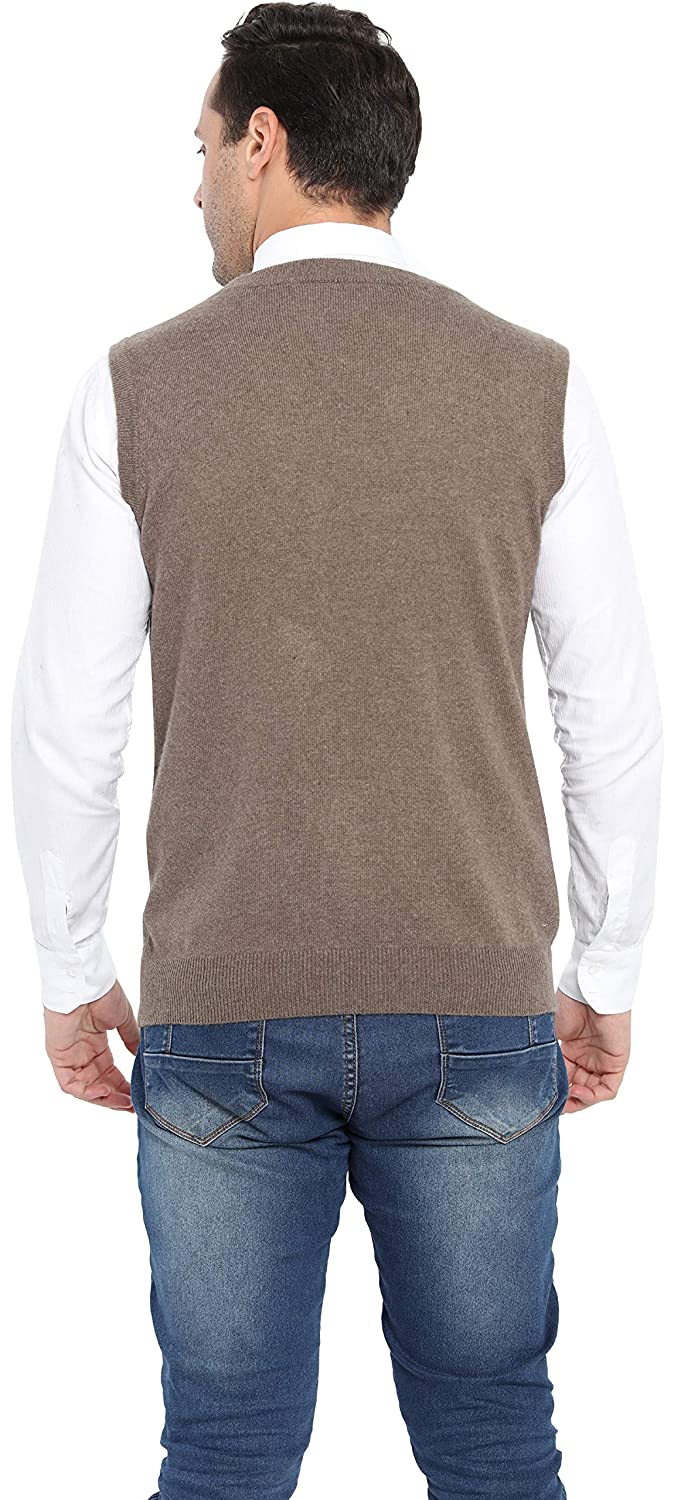 Liny Xin Men/'s Casual Fit Cashmere Wool Winter Vest Knitted V-Neck Sweater