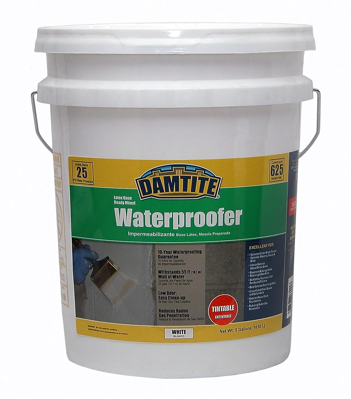 Damtite 03555 White Latex Waterproofer, 5 gal Pail