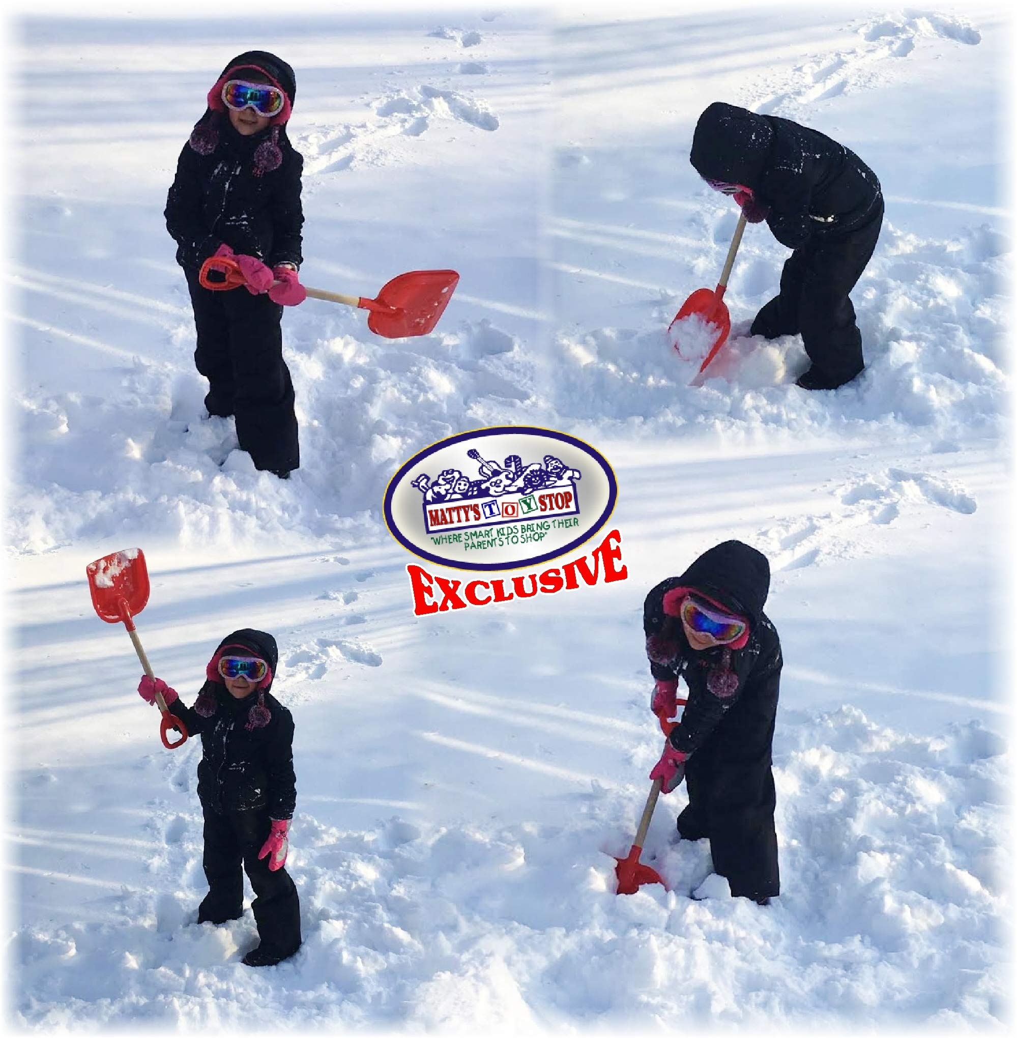 Matty's Toy Stop 28'' Heavy Duty Wooden Snow Shovels with Plastic Scoop & Handle for Kids Red, Yellow & Blue Swirl Gift Set Bundle - 3 Pack by Matty's Toy Stop (Image #4)