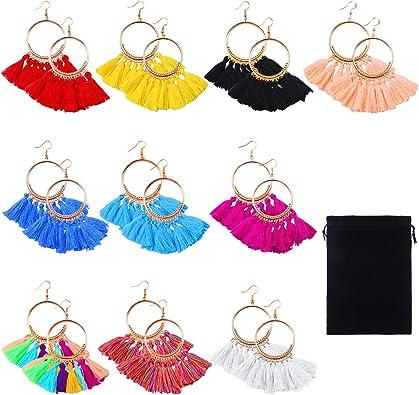 Hoop Earrings Fan-Shaped Drop Earrings Dangle Eardrop for Women Girls Party Bohemia Dress Accessory