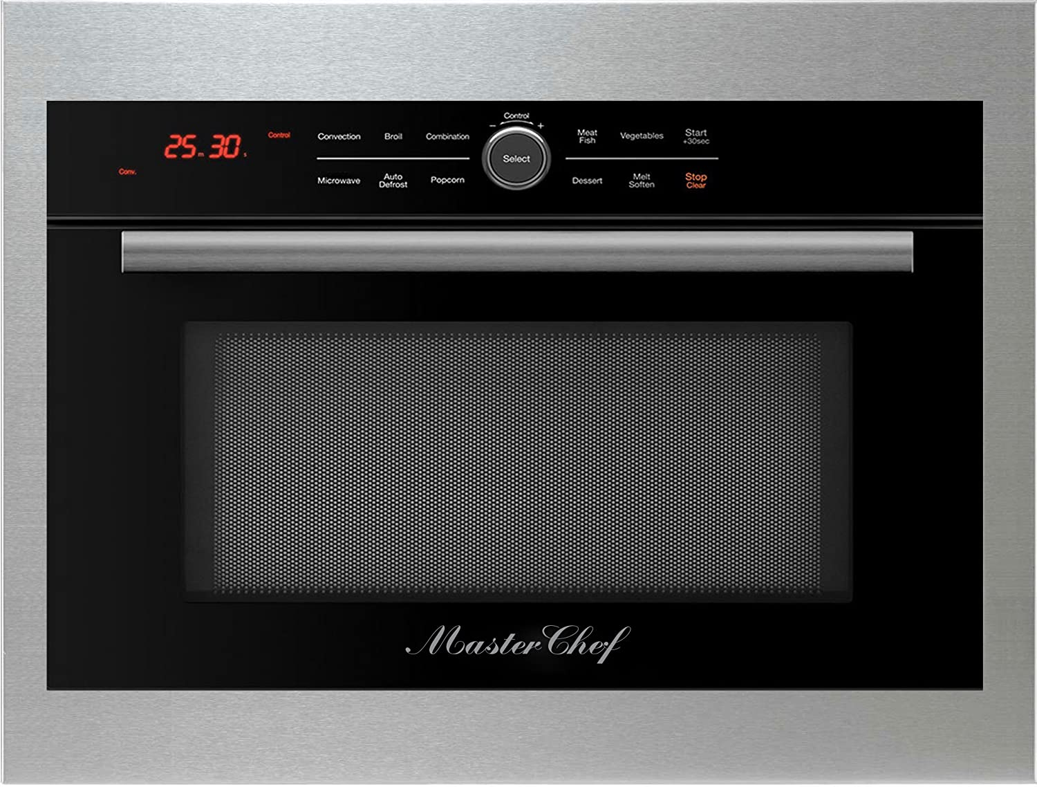 "Master Chef, 5 Ovens in 1, 24"" in.Built In Convection Microwave with Drop Down Door, Black with Stainless Steel Trim Kit."
